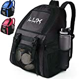 LUX Soccer Backpack with Ball Holder Compartment for Sports Youth Kids Boys Men Girls Team Bag Futsal Basketball Volleyball Gym (Black)