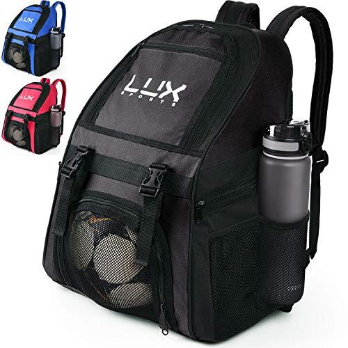 LUX, Fußball-Rucksack mit Ballhalterfach, für Kinder, Jugendliche, Jungen, Herren, Mädchen, Teams, Fußball, Basketball, Volleyball, Fitnessstudio, Schwarz