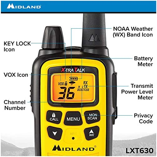 Midland 36 Channel FRS Two-Way Radio - Long Range Walkie Talkie, 121 Privacy Codes, NOAA Weather Scan + Alert (Yellow… 5