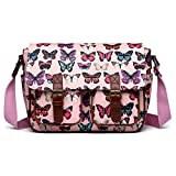 Miss Lulu Women's Oilcloth Satchel Bag Medium Butterfly Pink