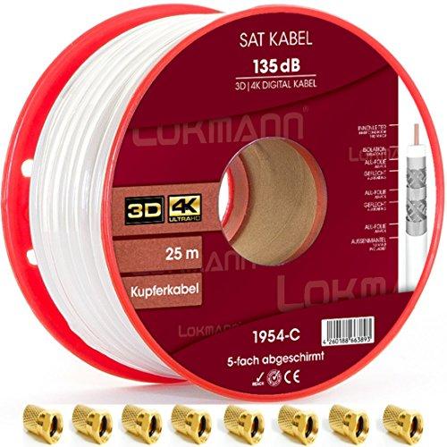 LOKMANN Cable coaxial de cobre puro, 25 m, 135 dB, apantallado de 5 capas, cable coaxial para antena de TV satélite, Full HD, UHD, 4K, 8K + calor, con 10 conectores F