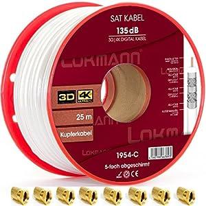 25m Cobre Puro KU 135dB apantallado, 5de cable coaxial Cable coaxial SAT Cable de antena TV satélite Cable Full HD, UHD, 4K, 8K + velocidad, con 10conectores F a