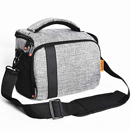FOSOTO Compact SLR/DSLR Stylish Camera Bag Case Compatible for Nikon P900 B500 D3500 D5600 D7500, Canon EOS T6 T7i T5 4000D 80D, Sony A73 Mirrorless Camera Shoulder Case Waterproof Rain Cover (Gray)
