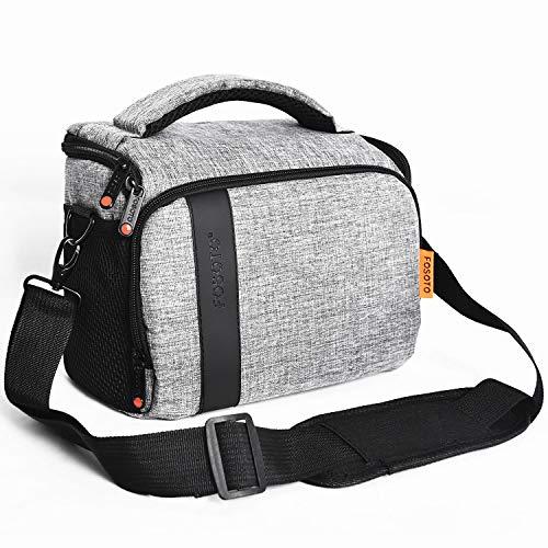 FOSOTO Compact SLR/DSLR Stylish Camera Bag Case Compatible for Nikon P900 B500 D3500 D5600, Canon EOS T6 T7i T5, Sony A6000 A73 Mirrorless Camera Shoulder Case Waterproof Rain Cover (Gray)