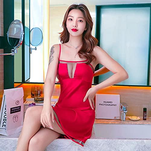 CHBY Conjuntos de lencería erótica para Mujer Monos de Mujer Pijama de camisón con Tirantes Sexy Camisón de Encaje Atractivo Servicio a Domicilio-Vino Rojo_L