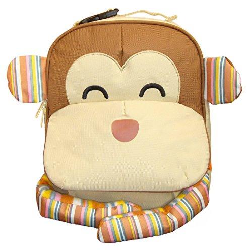 BOMIO   Unisex Kinder-Rucksack mit witzig-tierischem Design   Leicht zu reinigendes Polyestermaterial   verstellbare Gurte   Fassungsvermögen ca. 2,5 Liter   Affe