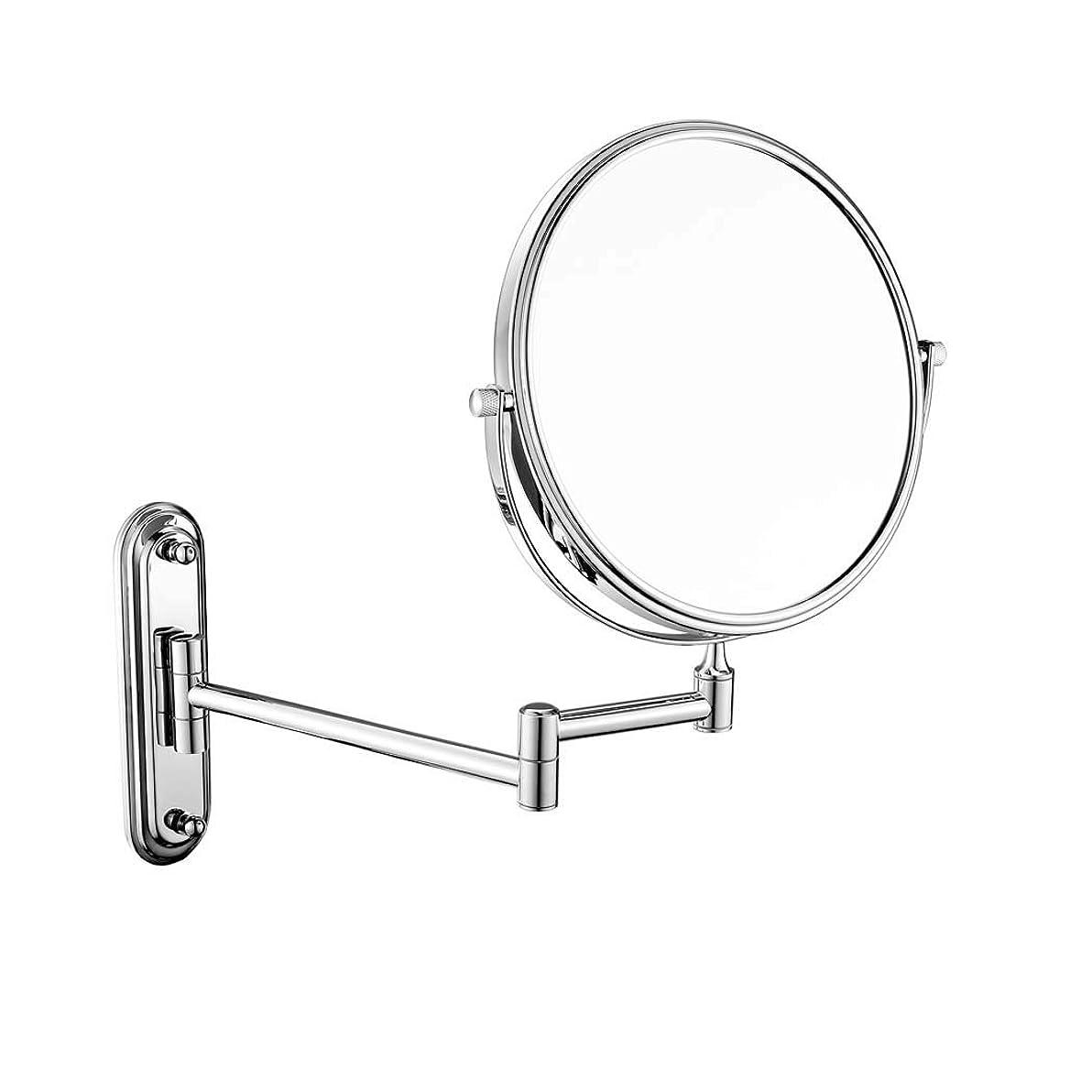 厳密に理論的大宇宙壁掛け浴室用ミラー両面化粧鏡3倍/ 5倍/ 7倍/ 10倍拡大虚栄心拡大鏡回転、お風呂、スパ、ホテル用拡張可能 (色 : Metal, サイズ さいず : 8 inch-7x)