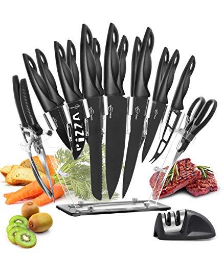 Küchenmesser Set, 18 Stücke Küchenmesser mit Messerblock, Edelstahl Küchenmesser mit Messerschärfer, Kochmesser Steakmesser Geflügelschere COOLCOOK Küchen Messer - Spülmaschinenfest
