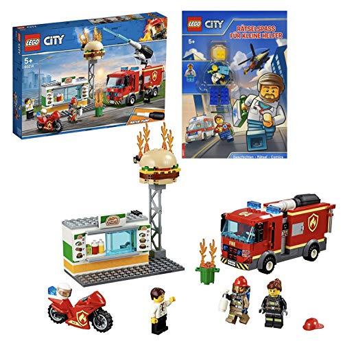 Lego City 60214 - Figura de bomberos en restaurante de hamburguesas y juego de rompecabezas Lego City para pequeños ayudantes