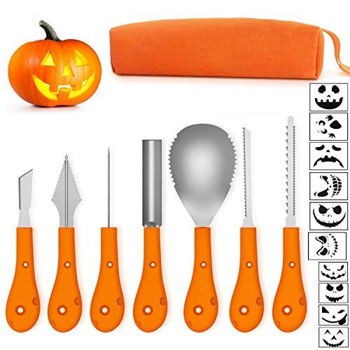 Ptsaying Halloween Kürbis Schnitzset, Halloween Kürbis Carving Kit, professionelle Werkzeuge und Hochleistungs-Edelstahl inklusive Tragetasche und 10er Kürbisschnitzschablone