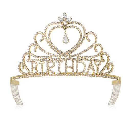DcZeRong Queen's Birthday Tiaras Crowns Gold For Women Birthday Pageant Party Prom Tiaras Crowns