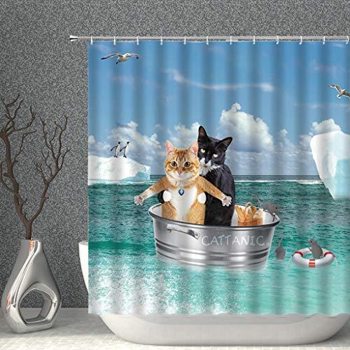 AMISADMGMA Cortina de la duchaFunny Shower Curtains Bathroom Curtain with Hooks Decor...