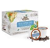 Super Organics Focus Support Coffee Brew Cups With Superfoods & Probiotics | Keurig K-Cup Compatible | Focus and Adaptogens | Medium Roast, USDA Certified, Vegan, Non-GMO & Fair Trade Coffee, 12ct