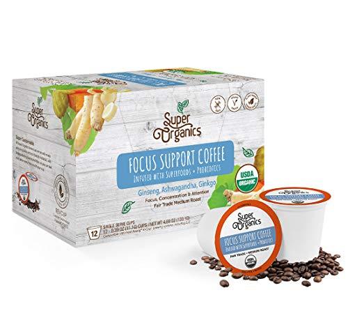 Super Organics Focus Support Coffee Brew Cups With Superfoods & Probiotics | Keurig K-Cup Compatible | Focus and Adaptogens | Medium Roast, USDA Certified, Vegan, Non-GMO & Fair Trade Coffee, 72ct