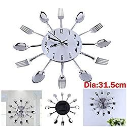 Dustin Carr Stainless 12.4 Home Decorat Cutlery Kitchen Utensil Spoon Fork Clock Wall Clock