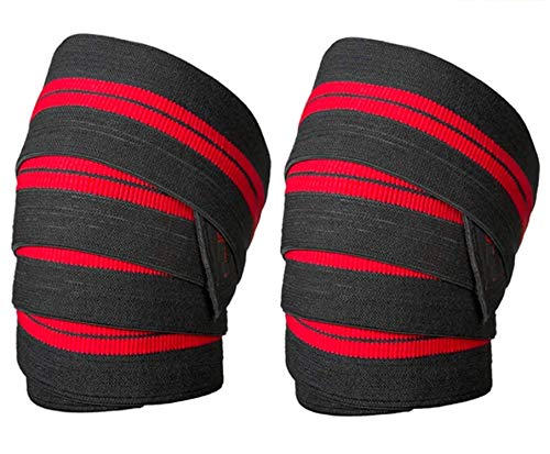 FEGSY Weightlifting Knee Wraps for Gym Squats, Knee Support Compression Strap for Pain Relief, Powerlifting, Workout, and Exercise - Men and Women (40 Inch - Pair)