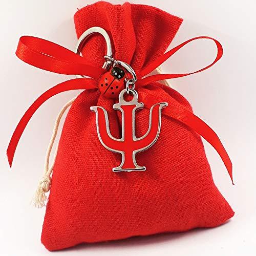 Bomboniere laurea sacchetti rossi con pendente ciondolo simbolo Psi (Bomboniera con portachiavi)