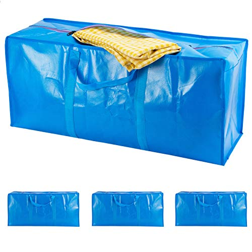 Cosweet 4 Pcs Extra Large Capacity Moving Bags- Waterproof Heavy Duty Moving Storage Bags with Carrying Handles and Zippers for Moving, Storaging and Travelling