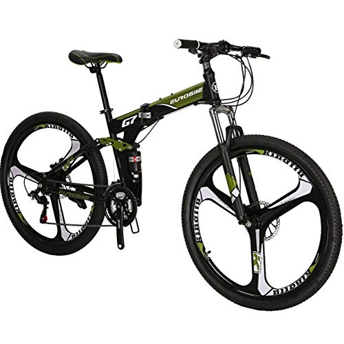 27.5' Folding Mountain Bike Hybrid 21 Speed Mens Bicycle Full Suspension MTB L