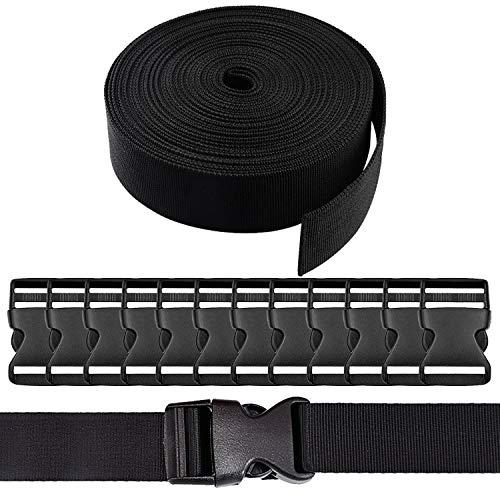 REKYO 1,5 Zoll Breite 10 Yards schwarz Nylon schwere Gurtband und 12ER Flachseite Release Schnallen Nylon Gurtband für DIY Handwerk Rucksack Umreifung
