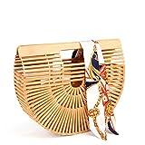 Samuel Bamboo Bags for Women Summer Straw Wooden Beach Purse Handmade Basket Handle Handbags