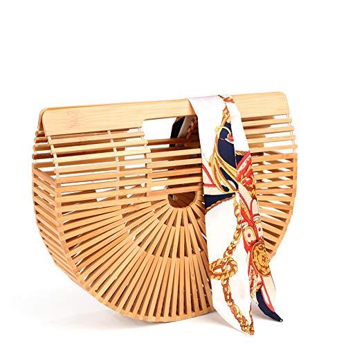 "Bamboo Handbag Handmade Tote Bag Handle Straw Beach Bag for Women By Samuel (7.87""x11.02""x2.99"")"