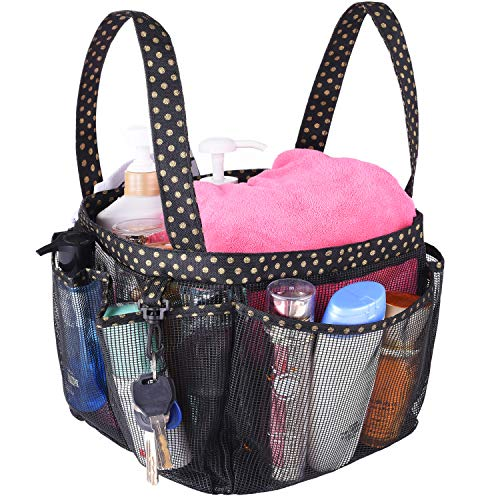 Haundry Mesh Shower Caddy Basket, Large College Dorm Bathroom Caddy Organizer with Key Hook and Oxford Handles, 8 Pockets, Hanging Portable Tote Bag for Camp Gym