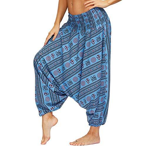 Nuofengkudu Women's Hippie Harem Trousers Drop Crotch Baggy High Waist Yoga Pants Aladdin...