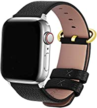 Fullmosa Compatible Apple Watch Band 38mm 40mm 42mm 44mm Leather Compatible iWatch Band/Strap Compatible Apple Watch SE & Series 6 5 4 3 2 1, 38mm 40mm Black + Golden Buckle + Silver Adapter