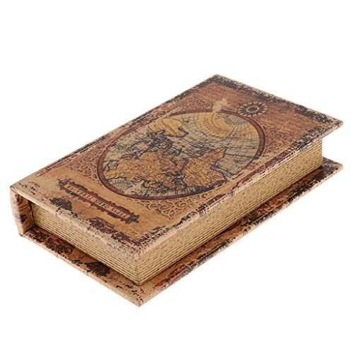 Fenteer Retro Boekvorm Houten Kist Boekenkist Boekenkast, Gemaakt Van Hout - Wereldkaart_B