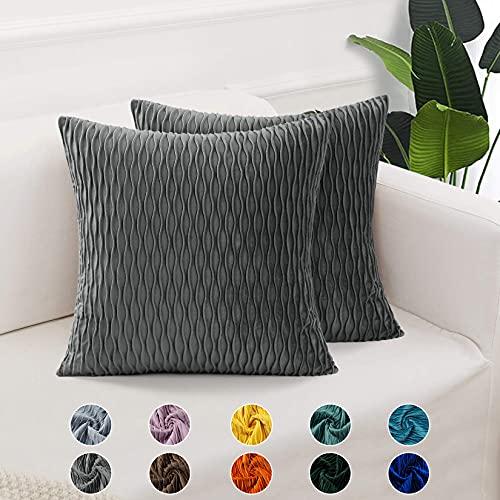 CAROMIO 2er Set Samt Soft Solid Dekorative Quadrat Wurf Kissenbezüge Set Kissen Fall für Sofa Schlafzimmer Grau 16x16 Zoll 40x40 cm