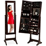 Best Choice Products Standing Mirror Armoire, Lockable Jewelry Storage Organizer Cabinet w/ Velvet Interior, 3 Angle Adjustments - Brown
