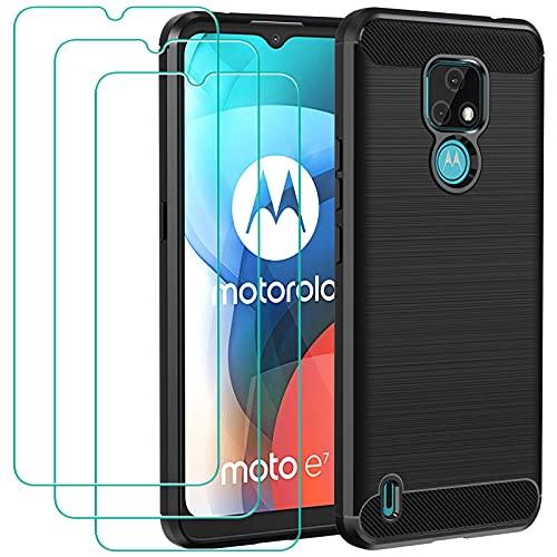 ivoler Funda para Motorola Moto E7 + 3 Unidades Cristal Templado, Fibra de Carbono Negro TPU Suave de Silicona [Carcasa + Vidrio Templado] Ultra Fina Caso y Protector de Pantalla
