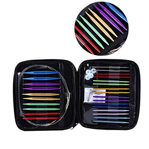 Juego de agujas de tejer circulares, 1 juego de agujas de tejer circulares intercambiables de 13 tamaños 2.75mm-10mm con estuche