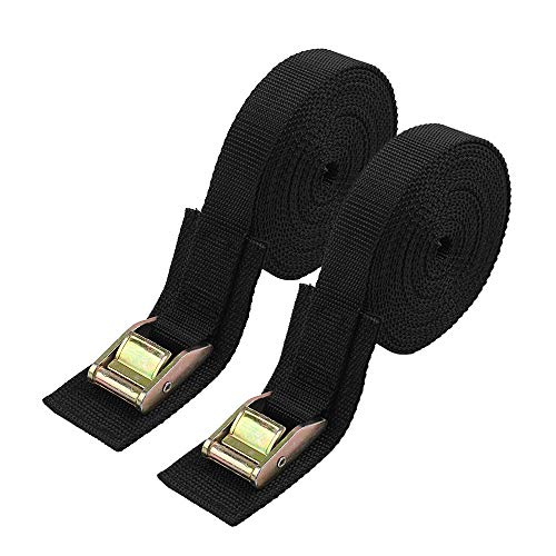 Lashing Strap,Tie Down Straps Cargo Kayak Strap Sturdy 16-foot-by-1-inch Thickened Cam Lock Buckle, 2 Pack(Black)