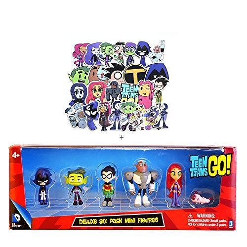 Nonbrand 6PCS/Set 2' Teens Titans Go Action Figures Set Robin Raven Beast Boy Figurine Toys PVC Model Kids Birthday Toy + 22pcs Paper Stickers