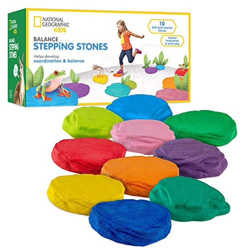 NATIONAL GEOGRAPHIC Balance Stepping Stones – 10 Soft and Durable Stones Encourage Early Learning, Create an Obstacle Course for Kids
