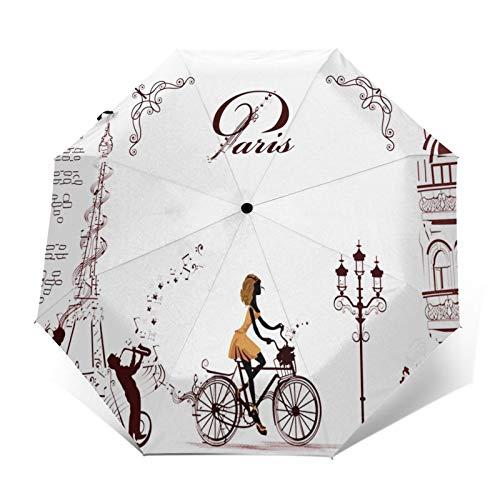 Paraguas Plegable Automático Impermeable Chica Paseos en Bicicleta Decorada, Paraguas De Viaje...