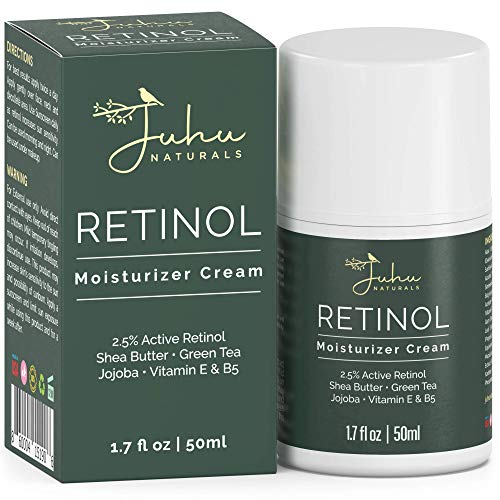 Retinol Moisturizer Cream 2.5% for Face & Eye Area with Vitamin E & Hyaluronic Acid for Anti Aging, Wrinkles & Acne - Best Night & Day Facial Cream by Juhu Naturals 1.7 Oz
