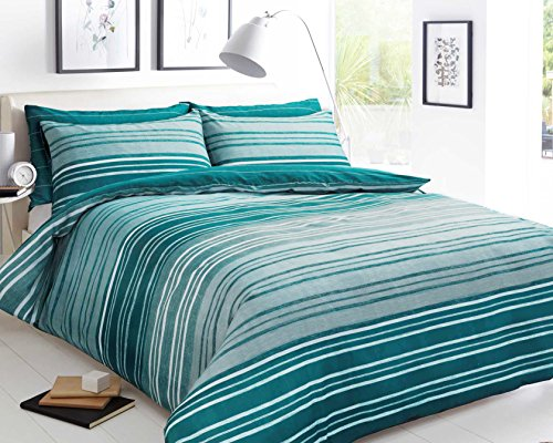 Sleepdown Textured Stripe Teal Soft Duvet Cover Quilt Bedding Set With Pillowcases - Double (200cm x 200cm)