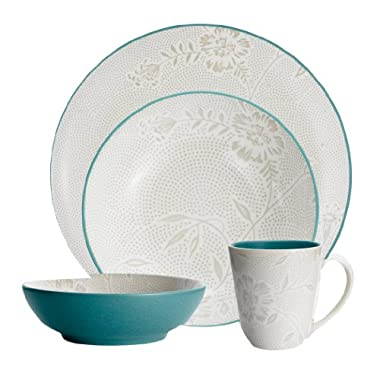 Noritake Colorwave Turquoise Bloom 4-Piece Place Setting, Coupe Shape