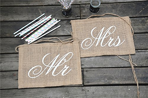 "Stuhldeko ""Mr + Mrs"" aus Jute - 3"