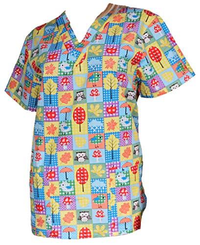 nurses-store Kasack Damen Schlupfjacke bunt dünn für den Sommer 80% Baumwolle (M) - Rabattaktion