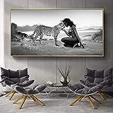 N / A Schwarzweiss-Naturlandschaftsplakat und Druckwandbild Schneeleopard und Wohnzimmerfrau Bild rahmenloses Gemälde 30cmX60cm