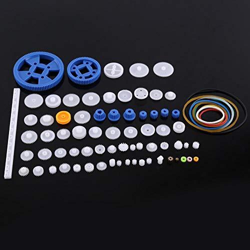 Kunststoff Getriebe,Riemenscheibe Wurm Kits tragbar langlebig Zahnrad Set aus hochwertigem Kunststoff,Plastic Gears Toy für Autos, Robotern sechs verschiedene Sets(80 Zahnradsätze)