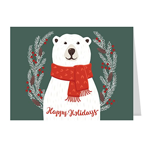 Smiling Polar Bear Holiday Card Pack / 25 Christmas Cards With Envelopes/Happy Holidays Cozy Winter Design With Message Inside/Greeting Cards Pack
