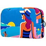Bolsa de brochas de maquillaje personalizables, bolsas de aseo portátiles para mujeres, bolso de cosméticos, organizador de viaje, playa, niña,