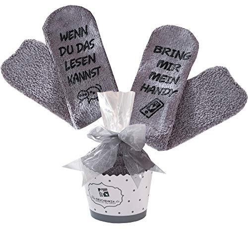 Handy Socken, Geschenke für Frauen, ausgefallene Geschenkidee zum Muttertag, WENN DU DAS LESEN KANNST BRING MIR HANDY, Geburtstagsgeschenke für Freundin, Schwester