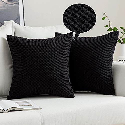 MIULEE Corduroy Granule Throw Pillow Covers Soft Pellets Solid Decorative Square Cushion Case for Sofa Bedroom Black 18'x18'2 Pieces