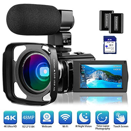 "4K Camcorder Video Camera Vlogging Camera for YouTube Rosdeca Ultra HD 48.0MP WiFi Digital Camera IR Night Vision 3.0"" IPS Touch Screen 16X Digital Zoom with Microphone, Wide Angle Lens Memory Card"
